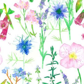 flower wildflower herbs fabric