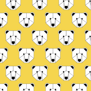 Polar Bear Face on Yellow