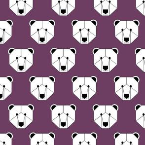 Polar Bear Face on Purple