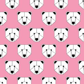 Polar Bear Face on Pink