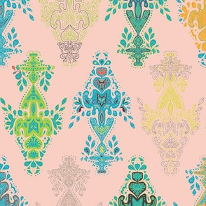 India Holi Collection - Blue and Green on Pale Pink