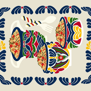 Talavera Bowls with Noodles-Panel