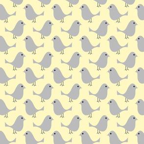 Grey Birds on Yellow