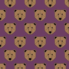Brown Bear Face on Purple