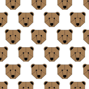 Brown Bear Face on White
