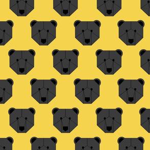 Black Bear Face on Yellow