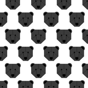 Black Bear Face on White