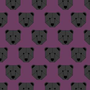 Black Bear Face on Purple