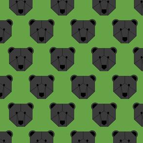 Black Bear Face on Green