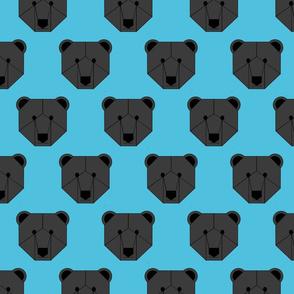 Black Bear Face on Blue