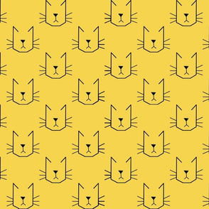 Cat Faces on Yellow - Small
