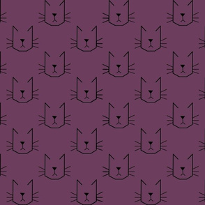 Cat Faces on Purple - Small