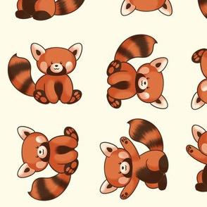 Red Panda Pattern Medium Ivory