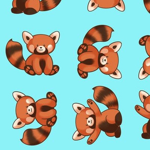 Red Panda Pattern Medium Blue