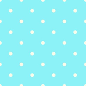 Blue and Ivory Polka Dots Medium