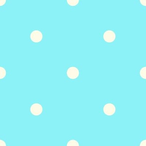 Blue and Ivory Polka Dots Large