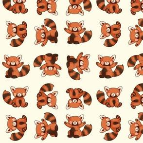 Red Panda Pattern Small Ivory