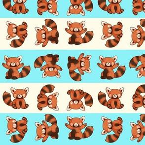 Red Panda Pattern Small Stripes