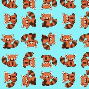Red Panda Pattern Small Blue