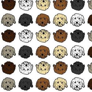 Multi color Doodle dog fabric white background