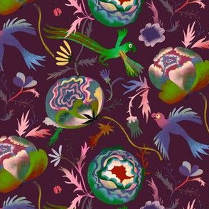 moody roses flying parrots small scale dark