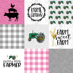 Future Farmer//Pink - Wholecloth Cheater Quilt