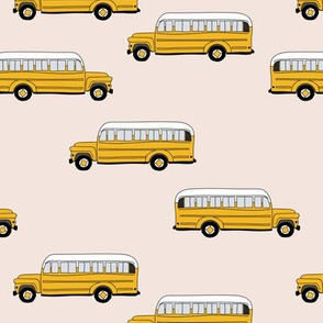 To cool to school schoolbus traditional American bus yellow pale nude girls