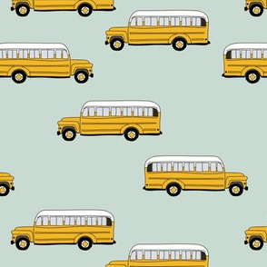 To cool to school schoolbus traditional American bus mint yellow