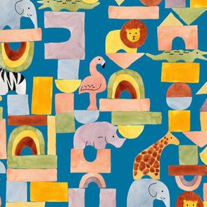 Safari Blocks Blue River - Large