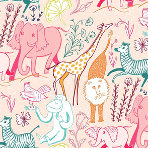 animal safari pretty pastel large
