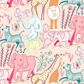 animal safari pretty pastel small scale