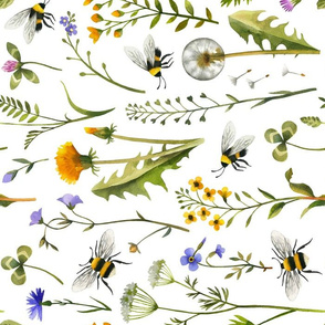 Bees and Wildflowers / White / Large Scale Rotated