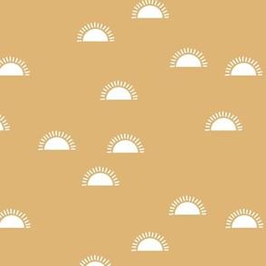 Little sunshine morning minimal trend abstract kids nursery design mustard yellow