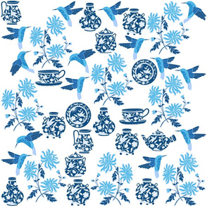 Blue Porcelain and Flowers Print
