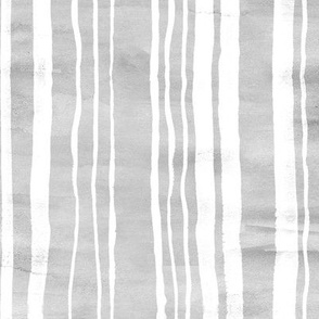 Grey & White Watercolor Stripes (Large Version)