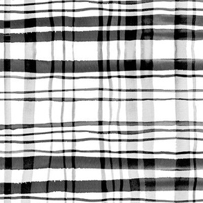 Gingham Black, White & Grey Watercolor (Large Version)