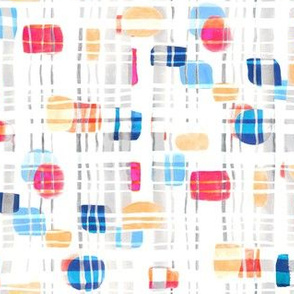 Colorful Abstract Gouache Shapes & Plaid (Small Version)