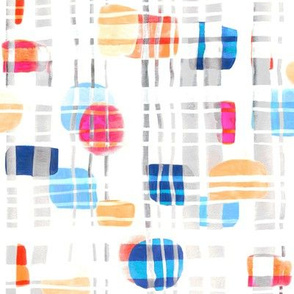 Colorful Abstract Gouache Shapes & Plaid (Large  Version)