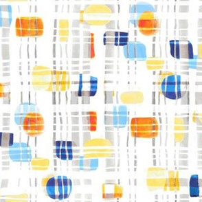 Blue & Yellow Abstract Gouache Shapes & Plaid (Small Version)