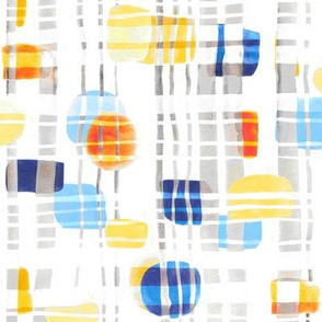 Blue & Yellow Abstract Gouache Shapes & Plaid (Large Version)