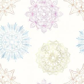 Zen Mandalas copper, gold, lavender and metallic blue on cream