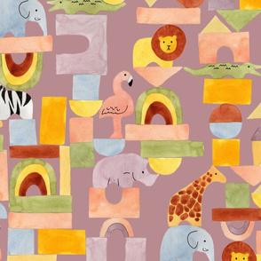 Safari Blocks Mauve - Large