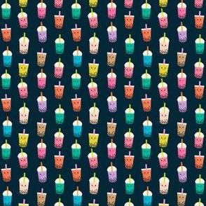 TINY Boba Tea fabric - boba fabric, kawaii fabric, cute fabric, food fabric, bubble tea fabric, bubble tea, kawaii food - navy