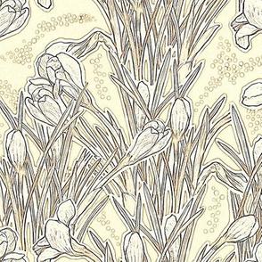 Crocuses, Spring Flowers, Botanical Floral , White Cream Vanilla