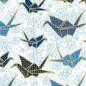 Small Blue Japanese Origami Crane and Cherry Blossom