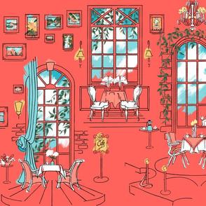 Paris Pastel Cafe | Deep Coral Pink