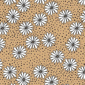 Little Scandinavian daisy garden spots and dots boho spring daisies in trend colors ginger beige yellow