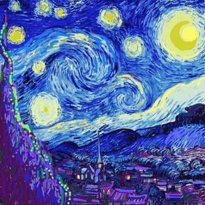 Starry Night, Purple Cypress