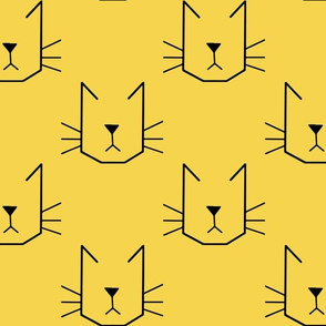 Cat Faces on Yellow