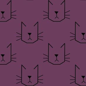 Cat Faces on Purple